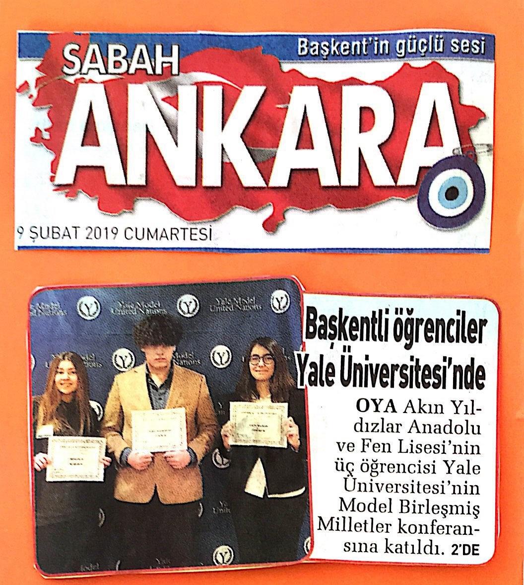 Yıldızlar Anadolu Ve Fen Lisesi Öğrencilerimiz Yale Üniversitesi'nde , haberi Sabah Ankara Eki'nde...